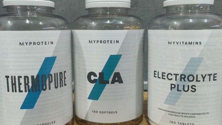 boites de compléments alimentaires myprotein : thermopure, cla, electrolytes